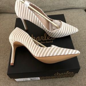 New in box taupe linen heels